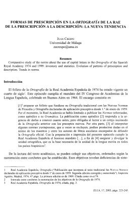 FORMAS DE PRESCRIPCIÓN EN LA ORTOGRAFÍA DE LA