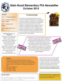 Klein Road Elementary PTA Newsletter October 2015