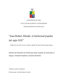 """""""Juan Rafael Allende: el intelectual popular del siglo XIX"""""""
