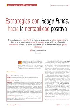 Estrategias con Hedge Funds: hacia la rentabilidad positiva