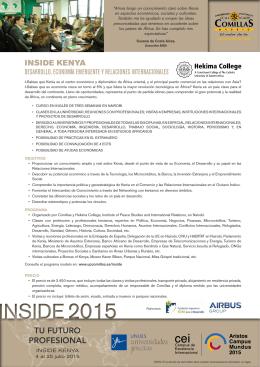 Inside Kenya. Desarrollo, Economía Emergente y Relaciones