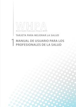 MANUAL DE USUARIO PARA LOS PROFESIONALES DE LA SALUD