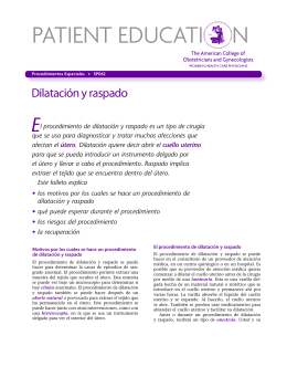 Patient Education Pamphlet, SP062, Dilatación y raspado
