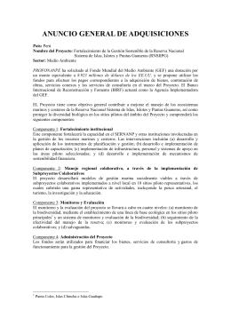 ANUNCIO GENERAL DE ADQUISICIONES