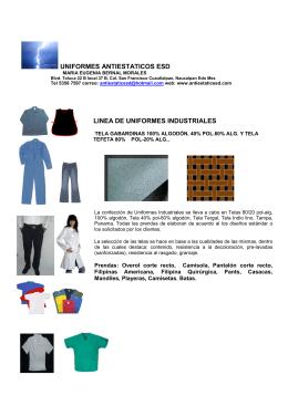 folleto linea uniformes industriales esd y linea ignifuga