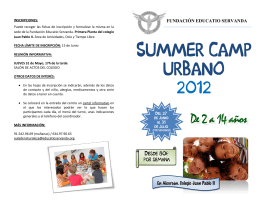 Folleto para familia Summer Camp FES