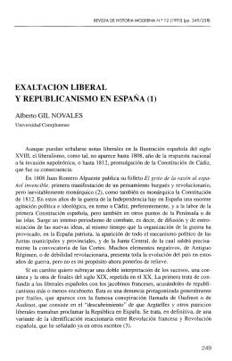 EXALTACIÓN LIBERAL Y REPUBLICANISMO EN ESPAÑA (1)