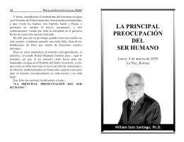 LA PRINCIPAL PREOCUPACIÓN DEL SER HUMANO