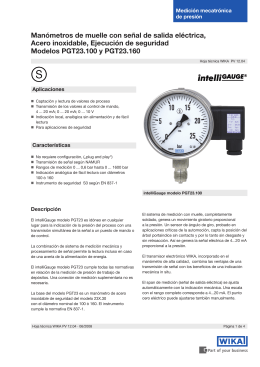 Manómetros de muelle con señal de salida eléctrica, Acero