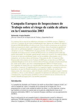 Campaña Europea de Inspecciones de Trabajo sobre el riesgo de