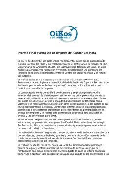 Informe Final evento Día D: limpieza del Cordón del Plata