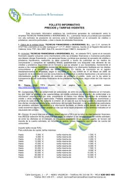 FOLLETO INFORMATIVO PRECIOS y TARIFAS VIGENTES