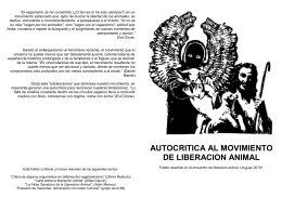 Autocritica al movimiento de liberación animal