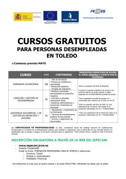 Folleto CURSOS SEPECAM_MOD I_Desempleads