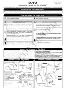 Información de instalación Antes de instalar el Washlet