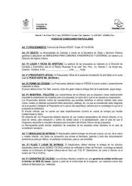 Pliego de condiciones - Municipalidad de Córdoba