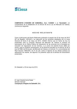 COMPANYIA D`AIGÜES DE SABADELL, SA