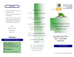 Acreditación del Idioma Inglés - Instituto Tecnológico de Apizaco