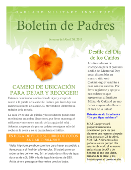 Boletin de Padres - Oakland Military Institute, College Prep Academy