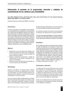 Información al paciente en la preparación, inserción y cuidados de