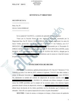 Sentencia Acciones Bankia 247/2015