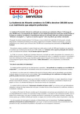 La Audiencia de Alicante condena a la CAM a devolver