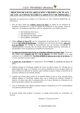 Reserva IES 2015 - CEIP PÍO BAROJA (MÓSTOLES)