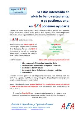 Oferta empresarios de hostelería - AEA