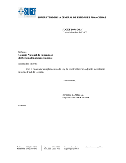 SUGEF 5094-2003/ 22 de diciembre del 2003 Señores Consejo