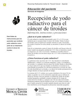 Recepción de yodo radiactivo para el cáncer de