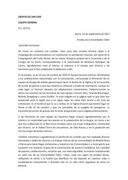 SIERVAS DE SAN JOSE EQUIPO GENERAL R.S. 107/11 Roma, 22