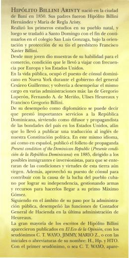 HIPOLITO BILLINI ARISTY nacio en la ciudad de Bani en 1850. Sus
