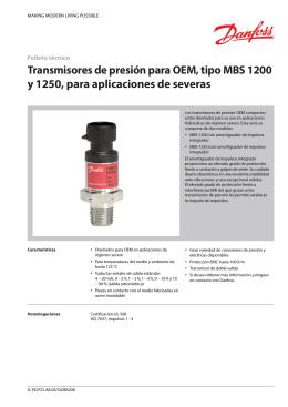 Transmisores de presión para OEM, tipo MBS 1200 y