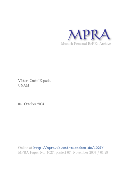 Munich Personal RePEc Archive V´ıctor, Cuch´ı Espada UNAM 04