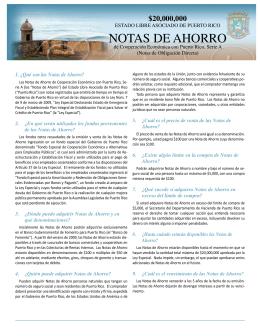 Notas de Ahorro de Cooperación Económica con Puerto Rico