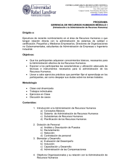PROGRAMA GERENCIA DE RECURSOS HUMANOS MÓDULO I