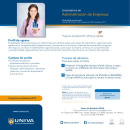 Folleto Licenciatura en Administración de Empresas