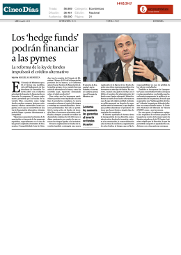 Los`hedgefunds` podránfinanciar alaspymes