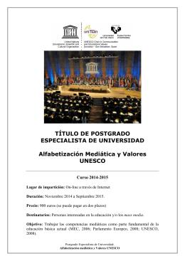 Folleto presentación Postgrado 2014-15