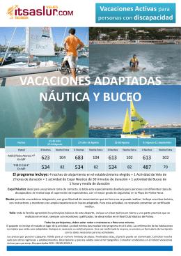 VACACIONES ADAPTADAS NÁUTICA Y BUCEO ACACIONES