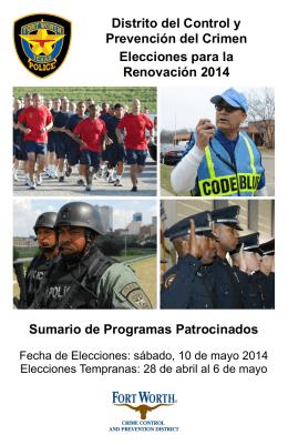 Distrito del Control y Prevención del Crimen Elecciones para la