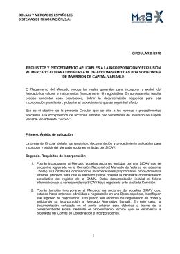 CIRCULAR 2/2010 Requisitos y procedimientos de incorporación