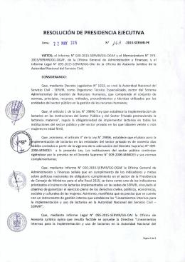 RESOLUCIÓN DE PRESIDENCIA EJECUTIVA Lima, 22