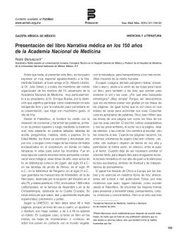 Presentación del libro Narrativa médica en los 150 años