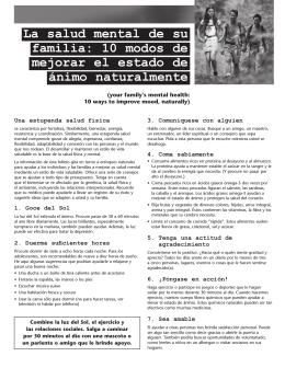La salud mental de su familia: 10 modos de mejorar el estado de
