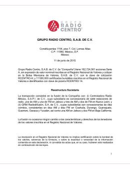GRUPO RADIO CENTRO, S.A.B. DE C.V.