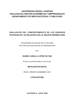 UNIVERSIDAD RAFAEL LANDíVAR FACULTAD DE CIENCIAS