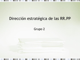 Dirección estratégica de las RR.PP