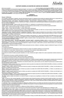 CONTRATO GENERAL DE GESTIÓN DE CUENTAS DE INVERSIÓN