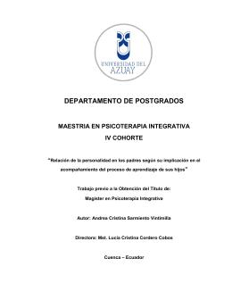 departamento de postgrados - DSpace de la Universidad del Azuay